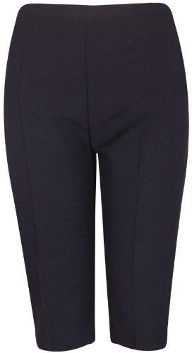New Ladies Plus Size Three Quarter Cropped Trousers Elasticated Waist Womens Plain Shorts