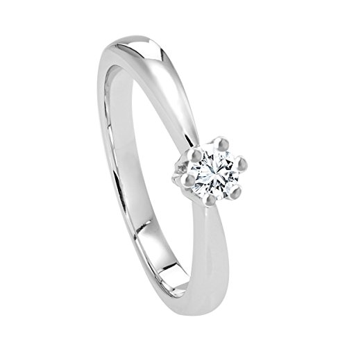 Diamond Line Diamant-Ring Damen 585 Weißgold mit 1 Brillianten 0.20 ct. Lupenrein