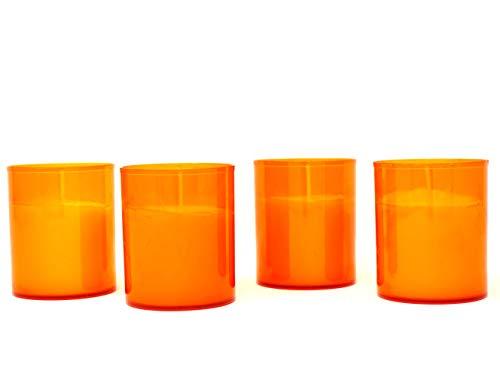 Coraz Home Kerzen mit Langer Brenndauer in farbigem Kunststoffhalter für Garten, Party, Innen- und Außenbereich, 20 Stunden je Kerze, farblos, 5.0 cm (D) x 6.0 cm (H) (Orange)