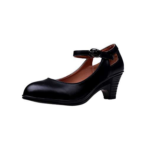 chaussures femme, Manadlian Escarpins à Talons Hauts 2019 Été à la Mode à Bout Rond et à Boucle Chaussons de Talon Carré Chaussures Simples Sandales