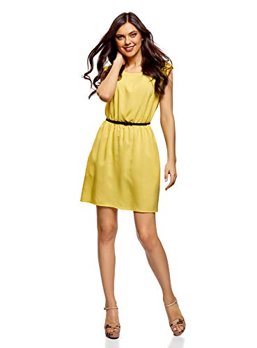 oodji Ultra Damen Viskose-Kleid mit Gürtel, Gelb (5100n), M
