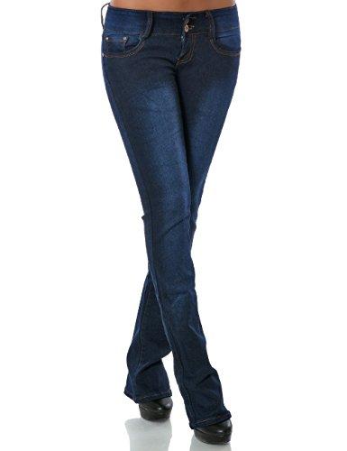 Damen Schlag Jeans Hose (Schlaghose weitere Farben) No 14221, Farbe:Blau;Größe:40 / L