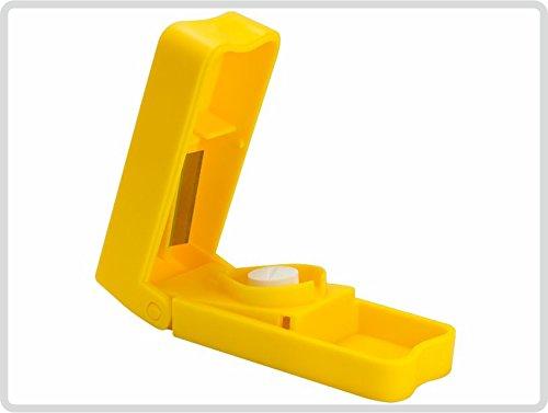 Tablettenzerteiler, Pillenteiler, Medikamentenhalbierer, gelb
