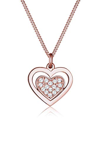 Elli Damen-Kette mit Anhänger Herz 925 Silber Rosegold Zirkonia weiß Brillantschliff 45 cm - 0104430816_45