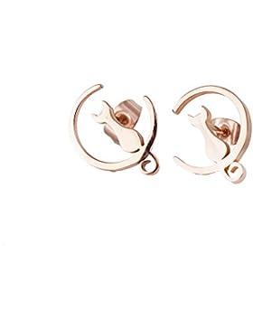 Findout Damen rose vergoldet titanium stahl klassische einfache katze liebe sie zu den mond ohrringe, für frauen...