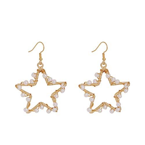 UINGKID Damen Ohrringe Mode Ohrstecker Mode elegante böhmische Metallperlen Liebesgeometrie Stern schmuck