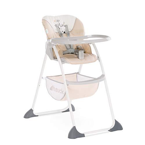Hauck Sit'n Fold - Trona alta para bebes de 6 meses, respaldo reclinable y gran cesta de almacenaje, mesa de comer desmontable y regulable en altura, plegado fácil y rápido, Pooh Cuddles (beige)