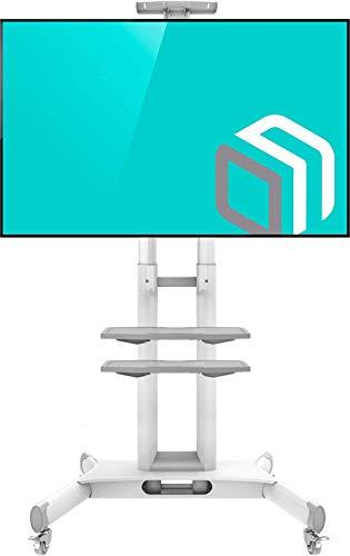 """ONKRON Mobil TV Ständer Universal für 32''- 65"""" Zoll LCD OLED LED 4K 8K Bildschirme Höhenverstellbar Rollbar Standfuss mit AV-Ablagen TV-Fernsehständer TS1552 Weiß"""