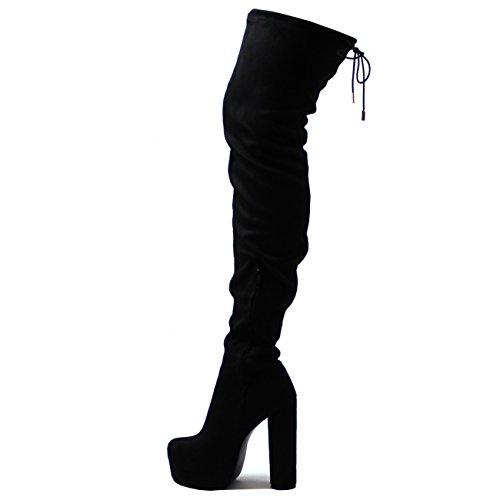 Donna Coscia Alta Scarpe A Punta Tacco Piattaforma Vestito Moda Stivali Nero