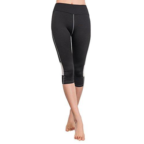 EXIU Femmes Taille haute Fitness YOGA Sport Short Capri stretch Guêtres Noir