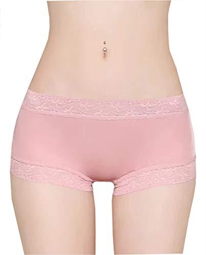 Boyshort Aus Seide (METWAY Damen Seiden-Höschen, sexy, Spitze, Seide, Boyshort - Pink - Large)