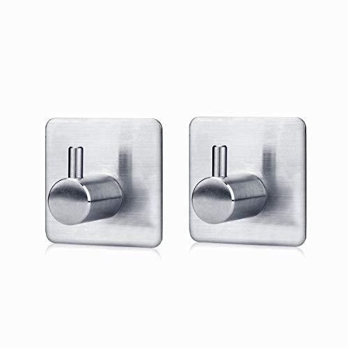 Gancio portasciugamano,w-unique porta accappatoio appendino 3m adesivo 304 in acciaio inox per la camera da letto, bagno, cucina, ufficio(2 pezzi)