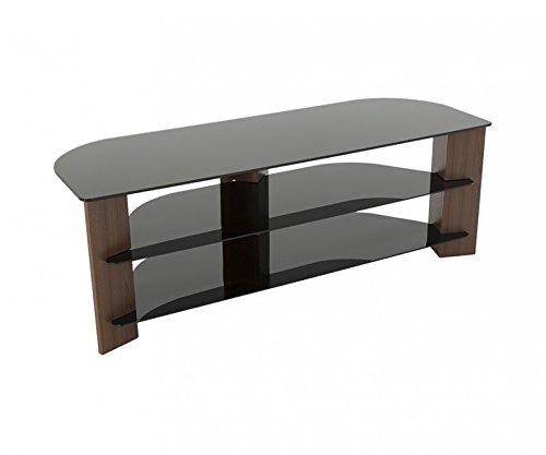 King TV Ständer Holz Effekt mit Ablagen aus schwarzem Glas LCD, gebogener, LED Fernseher bis 165,1cm von TV Möbel Direct walnuss