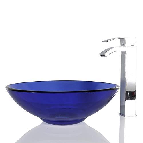 Waschbecken aus Glas, rund, 40 cm, inkl. Ablaufgarnitur, Blau -