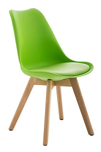 Besucherstuhl, Konferenzstuhl, Wartezimmerstuhl, Esszimmerstuhl, Stuhl, Polsterstuhl, Küchenstuhl, Wartestuhl, Messestuhl Kunstleder grün/natura #Borneo