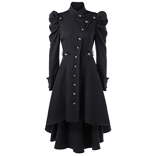 ESAILQ Damen Jahrgang Steampunk Long Coat Gothic Mantel Damen Retro Jacke(XX-Large,Schwarz)