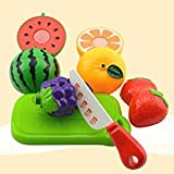 Blossom Realistic Sliceable Fruit Basket/Cutting Play Kitchen Toy With Fruits, Knife, Plate And Cutting-Board For Kids/Pretend Play Food Toys/Kitchen Fruit Play Toy For Children
