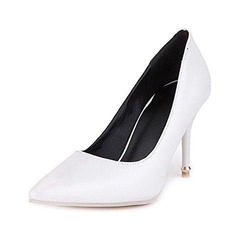 AllhqFashion Femme Couleur Unie Pu Cuir Stylet Fermeture D'Orteil Pointu Tire Chaussures Légeres Blanc