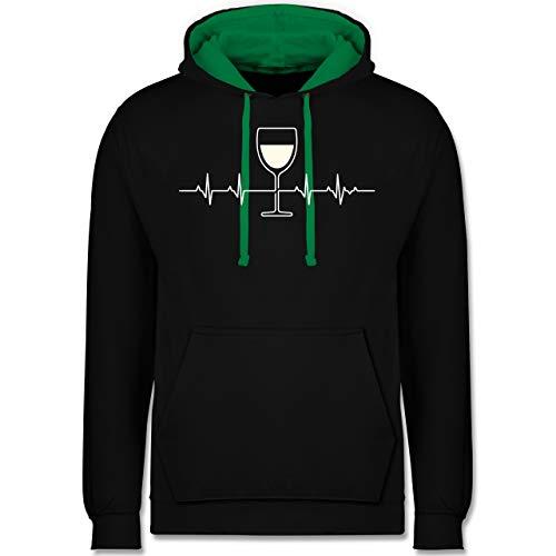Shirtracer Symbole - Herzschlag Weißwein - L - Schwarz/Grün - JH003 - Kontrast Hoodie