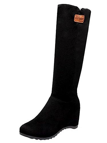 AIYOUMEI Damen Geschlossen Keilabsatz Kniehohe Stiefel Bequem Warm Winter Stiefel Schuhe (Leder Kniehohe Wedge Stiefel)