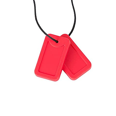 Chewigem Sensory Chew Dog Tag Necklace - Fidget Toy For Grinding - Autism - Red