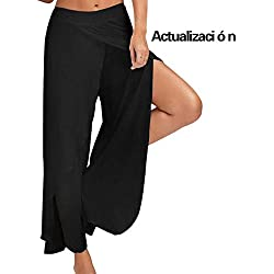 Mujer Pantalones Anchos Palazzo Alta División para Yoga Danza Ganduleado Fitness Pilates Black M
