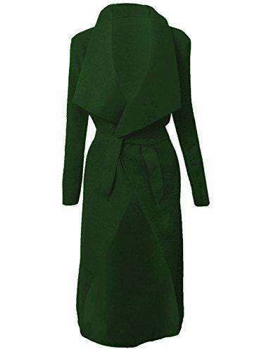 Italienische Wasserfall Kim Kardashian Personage Fell Gürtel Lange Jacke Cape Cardigan 8–14 Gr. Einheitsgröße, Grün - Dunkelgrün