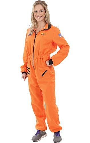 Erwachsener Damen Orange Astronauten Raumfahrer Space NASA Kostüm Medium (Adult Kostüm Space)