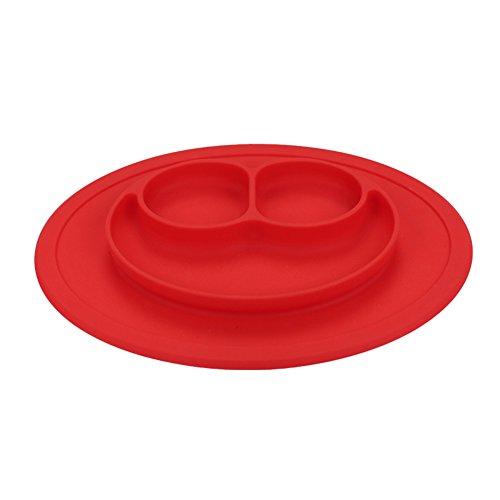 Piatto per bambini a forma di sorriso, in silicone, con ventosa antiscivolo, composto da vassoio e scomparti per il cibo, portatile, perfetto per la pappa Red