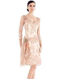 397e097ce2ee Dressvip rosa Sweetheart pizzo guaina Fromal cocktail vestiti con 3/4  maniche