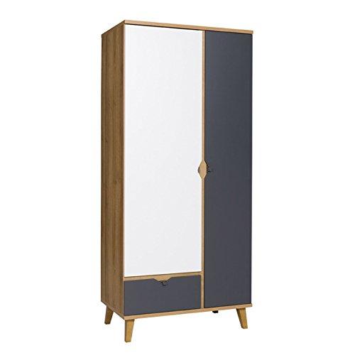Mirjan24  Drehtürenschrank Memone TM07 mit 2 Türen und Schublade, Kleiderschrank mit Kleiderstange, Elegantes Schrank für Jugendzimmer, Schlafzimmer (Eiche Gold/Graphit) -