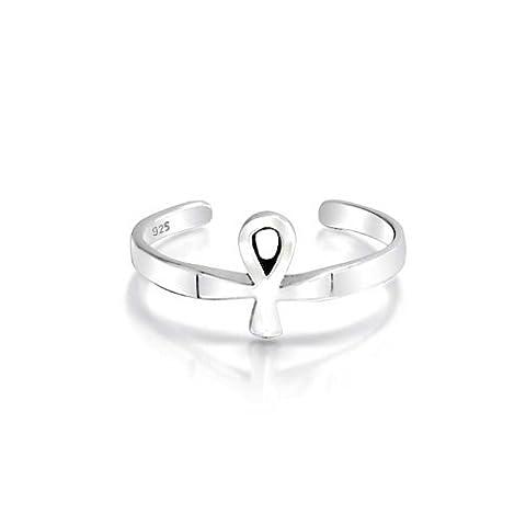 Bling Jewelry Silber Midi Ring verstellbar Ägyptische Ankh Kreuz Zehenringe