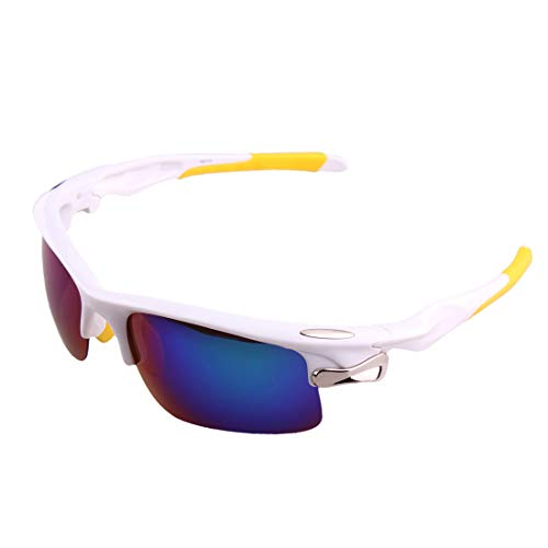 LBWNB Sportsonnenbrillen-CrazyFire UV 400 Schutz Unzerbrechliche Sportgläser Sonnenbrille Anti-UV-Sport-Outdoor-Sonnenmesslampen Reiten Photochromische Radnachrichtenlampen,White