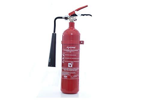 Feuerlöscher 2kg CO2 Kohlendioxid EDV geeignet EN 3 inkl. ANDRIS® Prüfnachweis mit Jahresmarke ISO-Symbolschild