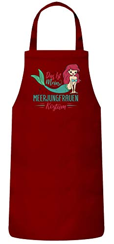 ShirtStreet lustige Karneval Gruppen Paar Verkleidung Frauen Herren Barbecue Baumwoll Grillschürze Kochschürze Fasching - Meerjungfrauen Kostüm, Größe: onesize,Rot