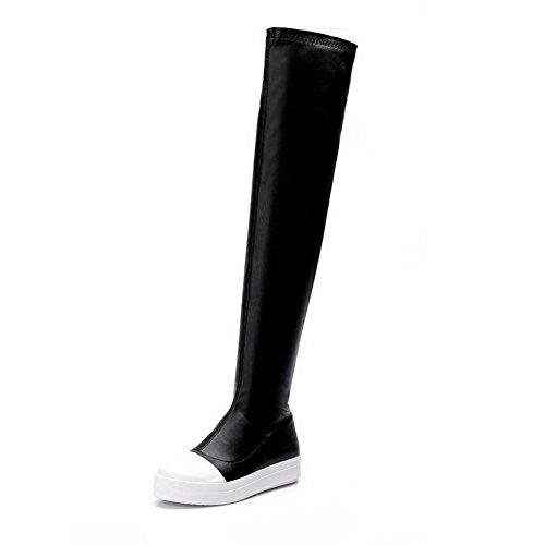 AgooLar Damen Blend-Materialien Ziehen auf Niedriger Absatz Oberschenkel Hohe Stiefel, Schwarz, 34
