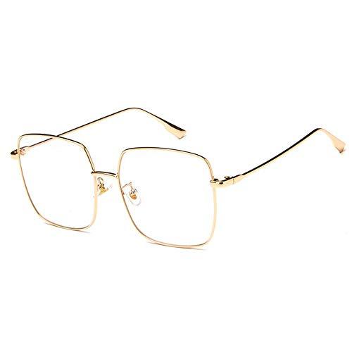 MJDABAOFA Sonnenbrillen,Square Retro Sonnenbrille Gold Rahmen Transparent Linse Sexy Übergrosse Für Frauen Gradient Uv 400 Sonnenbrille Mit Metallrahmen Für Männer