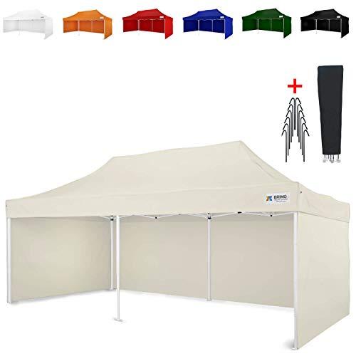Party zelt Exclusive BRIMO ® Komplett 3 volle Wände + 8 Verankerungsdübel und Schutzhülse Gratis! (3x6m, Beige)