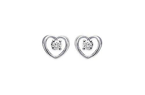 Ohrringe Sterling-Silber 925 Zirkonia Herz mit Strasssteinen, Hochglanz weiss Damen-Schmuck