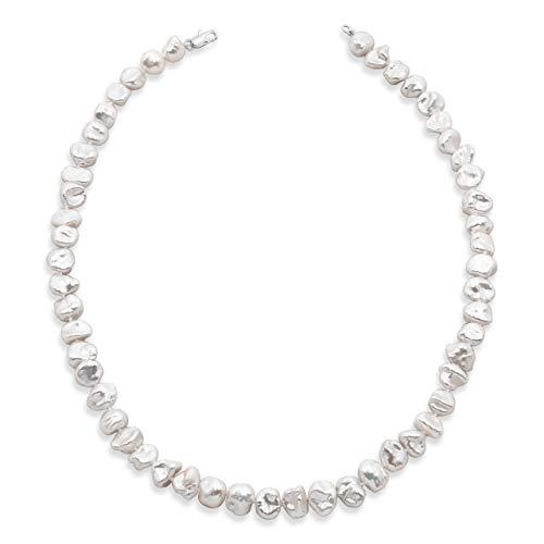 Damen Perlenkette Strang Süßwasser Zuchtbarock Keshi Halsband 40 oder 45 cm lang von Secret & You - Barocke Keshiperlen, vier Größen, 7-10 bis 11-12 mm, einfach geknotete Perlen -