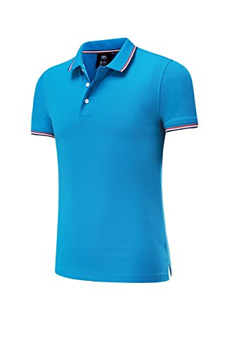VB Frauen Logo Shirt aus reiner Baumwolle mit kurzen Ärmeln Revers Taste Benutzerdefinierte Gruppen, Farbe Blau, XXL (Farbe-schwarz T-shirt Benutzerdefinierte)