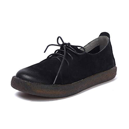 Shoes Lace-Up Flats Platform Shoes Vintage Leder Schuhe Comfort Loafers Low-Top Walking Shoes/Driving Shoes Black Brown,Black,37 ()
