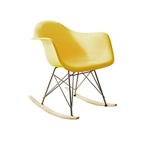 Sedia dondolo adulto, sedia plastica lounge struttura metallo sedia schienale creativo legno bianco grigio, per camera letto, soggiorno, cucina, sala da pranzo, caffè, bar (52 * 68 * 67.5cm)