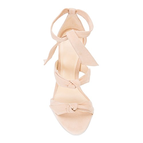 Damen Open Toe Sommer Sandalen High-Heels Stiletto Knöchelriemchen Samt Nude