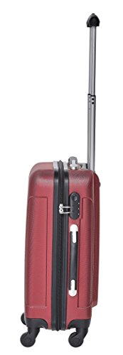 Packenger Kofferset - Travelstar - 3-teilig (M, L & XL), Rot, 4 Rollen, Koffer mit Zahlenschloss, Hartschalenkoffer (ABS) robuster Trolley Reisekoffer - 7