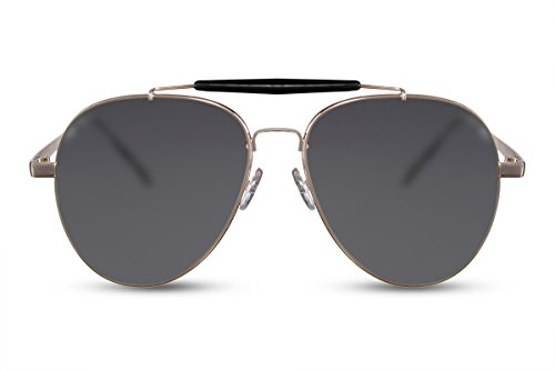Cheapass Piloten-Sonnenbrille Gold Grau Flieger-Brille Piloten-Brille UV-400 Hawkers Metall Damen Herren