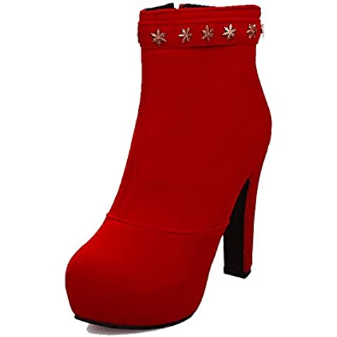 VogueZone009 Donna Bassa Altezza Cerniera Tacco Alto Punta Tonda Stivali con (I Migliori Donne Di Inverno Boots)