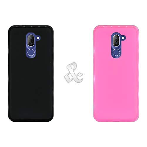 Pack [2 Stück] Hülle [Schwarz + Pink] für [Alcatel 3X] - Hülle Silikon Flexibel Gel, Stoßfest, Harte Schutzhülle, Schutz vor Kratzer & Staub