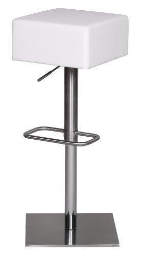 Edelstahl Barhocker Durable M4, Edler Gastro Barstuhl Sitzfläche gepolstert 360° Drehbar, Exklusiver Design Tresenstuhl mit Fußstütze Standfest, Sitzhöhe 66-89 cm Höhenverstellbar, weiß