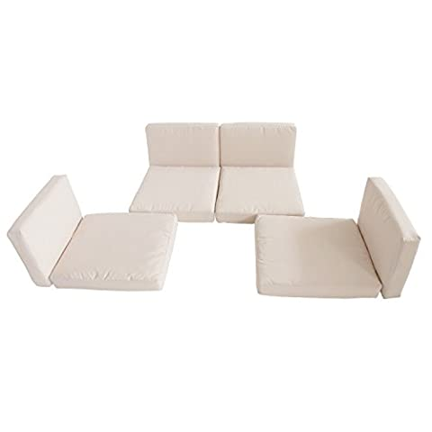 Rattan Furniture Cushion Cover Replacement Set, 8 pcs-Cream - This fantastic cushion cover set is perfect for your rattan, indoor and outdoor furniture.